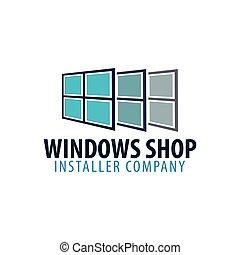 company., illustration., windows, logotipo, vector, store., ...