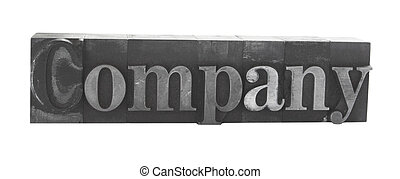 company in old metal type
