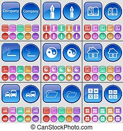 Company, Ink pen, Book, Cigarette, Yin-Yang, House, Transport, Folder, Calculator. A large set of multi-colored buttons. Vector