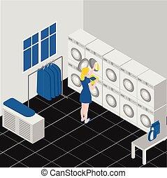 company., isometrico, bucato, machines., servizio, apparecchiatura, lavori domestici, pulizia, interno, stiratura, lavaggio, moneta