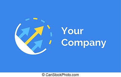 Company Logo or Label with Arrows, Emblem Vector