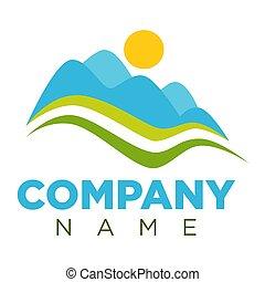 Company logotype with minimalistic landscape isolated illustration