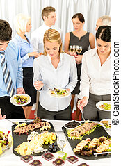 Company meeting catering business people eating