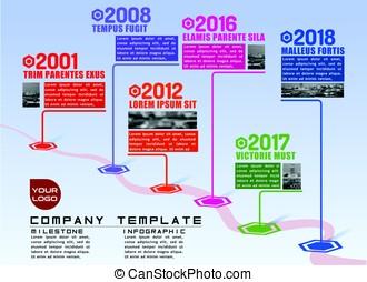 Company Milestones Time Line Path Vector Infographic...