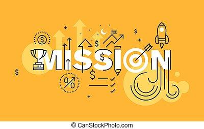 Company mission statement banner - Thin line flat design...