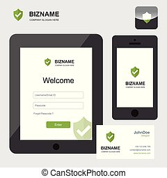 Company mobile app design of tablet and phone vector
