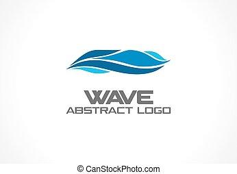 company., mulinello, onda, astratto, oceano, mare, logotipo, blu, colorito, natura, concept., logotype, turbine, affari, eco, acqua, icona, terme, spirale, aqua, idea., vettore