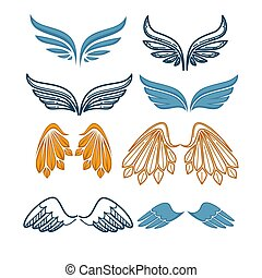 Company name logo emblem with blue angel wing on white