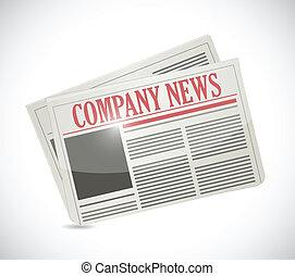 company news. newspaper illustration design over a white ...