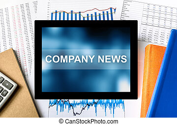 company news word on tablet