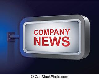 company news words on billboard