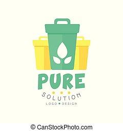 company., ou, tri, gabarit, déchets, plat, original, isolé, solution, business, waste., vecteur, conception, casiers, pur, logo, blanc, amical, écologiquement