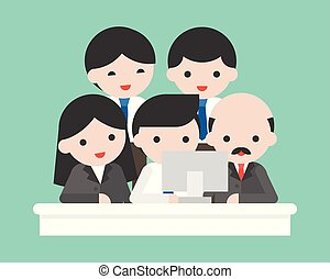 Company owner and business team looking at computer screen,...