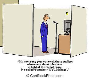 Company Reorganization - Business cartoon about company...