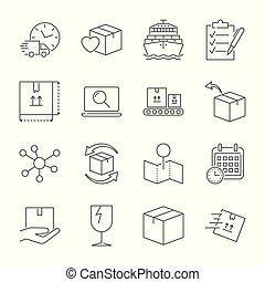 company., serviço pacote, ícones, set., editable, entrega rápida, apoplexia, vetorial, despacho, logistic, ícone, qualidade, transportation.