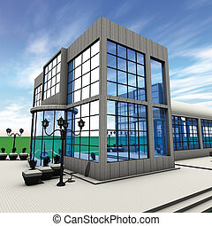 Company side - 3D rendering  side commercial building