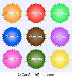 company sign icon. tradition symbol. Business abstract circle logo. A set of nine different colored labels. Vector