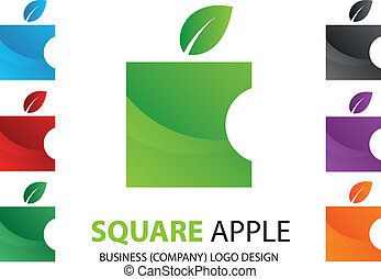 Company Square Apple Logo Design,Ve - Vector image for...