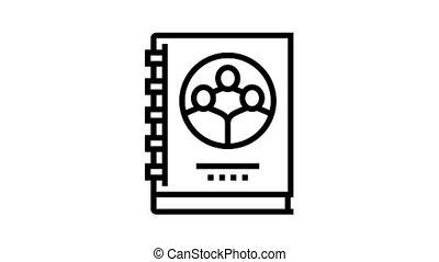 company statute for employees animated black icon. company statute for employees sign. isolated on white background