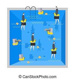 company., swimming., διαχειριστής , pool., inflatable , αναπαύομαι , duck., επιχειρηματίας , εταιρικός , file., κάρτα