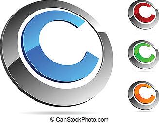 """Letter """"C"""" symbol. Vector illustration."""