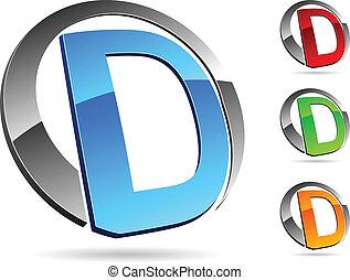 """Letter """"D"""" symbol. Vector illustration."""
