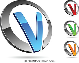 """Letter """"V"""" symbol. Vector illustration."""