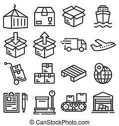 company., vecteur, logistique, expédition, icônes