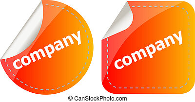 company word on stickers button set, label