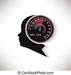 comparé, voiture, cerveau, vecteur, humain, compteur vitesse, vitesse