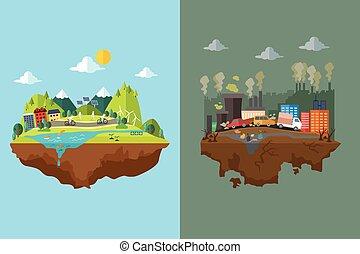 comparação, poluído, limpo, cidade