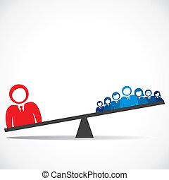 comparación, concepto, de, empresa / negocio