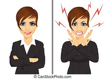comparación, mujer de negocios, enojado, mismo, entre, ...