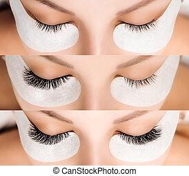 comparación, ojos, pestaña, extension., after., hembra,...