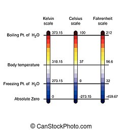 comparación, temperatura, escalas, tres, ilustración, vector