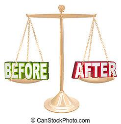 comparaison, échelle, après, résultats, mots, temps, nouveau, avant