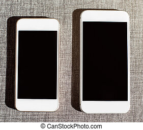 comparaison, blanc, deux, intelligent, téléphones