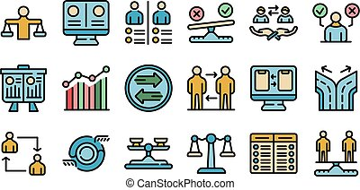 comparaison, ensemble, icônes, vecteur, plat