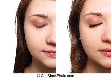 comparaison, yeux, cil, extension., after., femme, avant