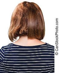 Comparative portrait of damaged hair
