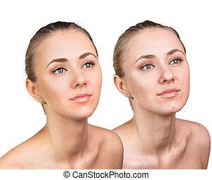 comparativo, retrato, cara femenina