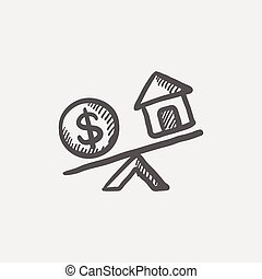 Compare or exchange home to money sketch icon