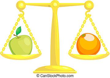 comparer, équilibrage, pommes, oranges, ou