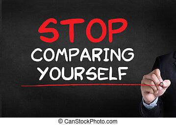 comparer, arrêt, vous-même