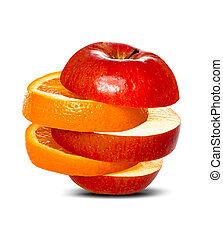 comparer, pommes, oranges
