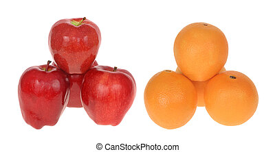Comparing Apples to Oranges - Stack of apples next to stack...