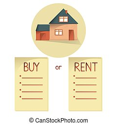 Comparing buy and rent house, list with bullets, choose buying or renting of property, vector concept