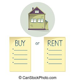 Comparing buy and rent house, list with bullets, choose buying or renting of property, vector concent