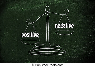 pros versus cons, metaphor of balance measuring the positive and the negative