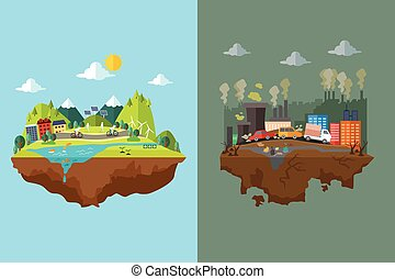 A vector illustration of comparison of clean city and polluted city